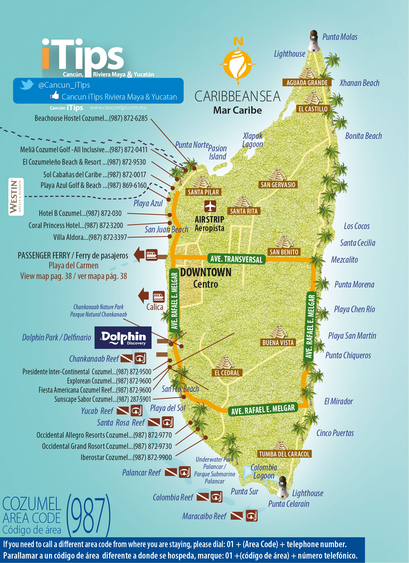 downtown cozumel map  cancun tips - downtown cozumel map